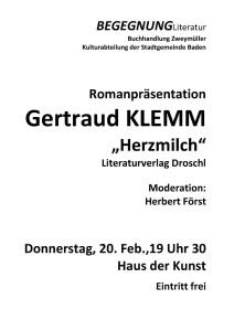 Gertraud Klemm Plakat 2014